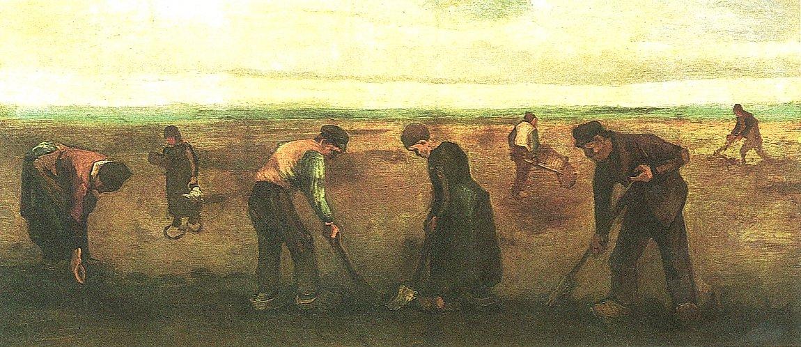 Vincent van Gogh Bauern beim Kartoffelsetzen Bild auf